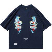 ingrosso magliette di drago cinesi-T-Shirt Hip Hop Mens 2019 Doppio Drago Stampa Streetwear cinese Tshirt Harajuku 100 T-Shirt manica corta in cotone HipHop