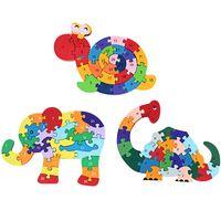inek oyuncakları toptan satış-Hayvan Çocuklar Sarma Hayvan Salyangoz Fil İnek Dinozor Bilmecenin Ahşap Oyuncak Çocuk Erken Eğitim Oyuncak