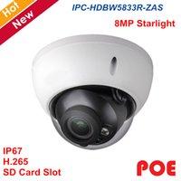 kamera sd ir ip toptan satış-Yeni 8mp IP Kamera IPC-HDBW5833R-ZAS POE SD Kart maksimum 128g H.265 Su Geçirmez IP Kamera IR 50 m 3.5mm ~ 12mm Moterized lens