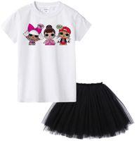 xs elbiseleri toptan satış-Çocuklar yaz kısa kollu t gömlek + örgü etek karikatür Sürpriz Kısa Kollu T-Shirt çocuk beyaz T-Shirt elbise seti LJJK1535