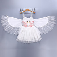 kızlar için beyaz dans elbiseleri toptan satış-Kız Çocuk Giyim Kuğu elbise Yaz Susperder Beyaz Melek Melek Kanat Dans Gösterisi Ile elbise zarif elbise
