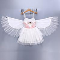weiße tanzkleider für mädchen großhandel-Mädchen Kinderkleidung Schwanenkleid Sommer Hosenträger Weißes Kleid Mit Engelsflügel Tanzshow elegantes Kleid