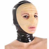 borracha máscara zipper venda por atacado-Latex capa para Máscara Clube Cosply Sexy Rubber Fetish Costume Party com Voltar Zipper LM150