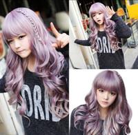 Wholesale purple hair lolita cosplay for sale - New Fashion Long Purple Wavy Curly Women s Lady Cosplay Lolita Hair Wigs