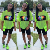 Wholesale women s sheer t shirt online – design Rainbow Lips Printed Women Shorts Set Sheer Mesh Tracksuit Short Sleeve T shirt Shorts Piece Sports Jogger Suits Outfits Sportswear C41603
