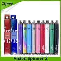 ego-c achat en gros de-Batterie de cigarette électronique de tension variable de VV 3.3-4.8V de batterie de 1650mAh de Cie de torsion de la vision Spinner 2 II pour des atomiseurs de fil d'amour
