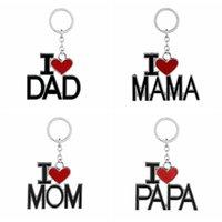 любовь на день рождения любовь оптовых-Английский Письмо Keychain I Love Papa Мама Мама папа Metal Key Ring семьи Брелки для отца День подарков партии Матери Favor GGA2711