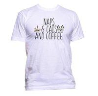 taille du café achat en gros de-Les siestes et les chats et le café T-shirt Hommes Femmes Unisexe Mode Slogan Comédie Cool Taille Discout Chaud Nouveau Tshirt Harajuku Eté 2018 Tshirt