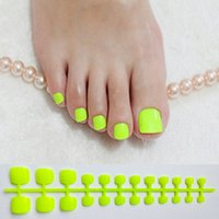 Wholesale false nails for toes for sale - Group buy Bright Green Acrylic Fake Toe Nails Square Press On Nails For Girls Articficial Candy Macaron Color False Toenails For Girls