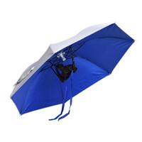 guarda-chuva venda por atacado-Esportes ao ar livre Único Dobrável Chapéu de Sol Guarda-chuva de Pesca De Golfe Caça Camping Praia Headwear Cap Chapéu de Cabeça Portátil Brolly