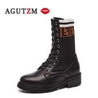 Wholesale knees high boots for sale - Group buy 2019 leather boots women Knee high female footwear Nylon design round toe lace up high top winter shoes botas mujer invierno