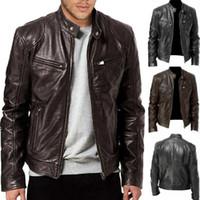 jaquetas de couro marrom da motocicleta venda por atacado-Couro Brown Jacket dos homens negros New Retro Magro Motorcycle Design de Moda Jacket cor sólida manga comprida
