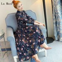mavi uzun kollu elbiseler toptan satış-Yeni Çiçek Baskı Pileli Elbise İlkbahar Sonbahar Kadın Standı Yaka Uzun Kollu Mavi Çiçek Baskılı Uzun Şifon Elbiseler S19801