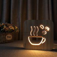 ingrosso led luci del negozio di legno-Creative Wood LED Night Light una tazza di tè caffè Style Luminaria di moda lampada per la caffetteria sala ristorante Decoration