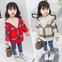 bebek kıyafeti örme desen toptan satış-2019 bahar Çocuk giyim toddler kız kazak bebek kız yuvarlak yaka örme gird desen uzun kollu kazak rahat üst