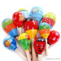 ahşap oyuncaklar toptan satış-Sıcak Satış Bebek Ahşap Oyuncak Çıngırak Bebek sevimli Çıngırak oyuncaklar Orff müzik aletleri bebek oyuncak Eğitici Oyuncaklar