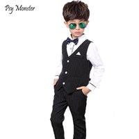 kinder jungen kleider für hochzeiten großhandel-Japanische Anzüge für Hochzeiten Jungen Weste + Hosen 2pcs Blume Jungen Formal Smoking-Kind-Kleid Hemd Gentleman Partei Kleidung stellt C4 T191006