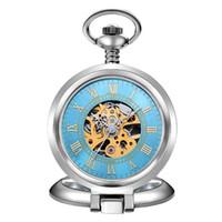 relógio de bolso esqueleto de aço inoxidável venda por atacado-Venda quente Único Das Mulheres Dos Homens Relógio De Bolso Mecânico de Prata Em Aço Inoxidável Tampa De Vidro Da Caixa Elegante Esqueleto Azul Dial Posh Na Moda
