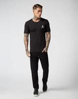 das schädelt-shirt der männer großhandel-PP Mens Designer T Shirts Neue Sommer Grundlegende Solide T-shirt Männer Mode Stickerei Schädel T-shirt Männliche Top Qualität 100% Baumwolle Tees