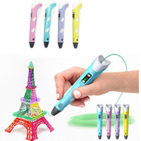 Discount 3d printer designs 3D Drawing Pen DIY 3D Printer Pen ABS PLA arts 3D Printing Pen LCD Educational Gift For Kids Design Painting Drawing