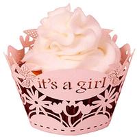 partie de douche rose achat en gros de-12pcs Laser Cut Pink C'est une fille Cupcake Wrapper filigrane vigne Wrap colliers tasses bébé douche 1er anniversaire gâteau décoration