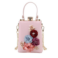 Wholesale stereo handbags resale online - 2017 Fashion New Handbags Quality PU leather Women bag Sweet Lady Pearl Stereo Flowers Banquet Hand Chain Shoulder Messenger Bag
