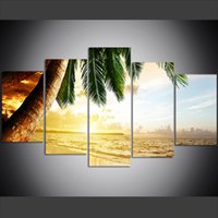 palmeiras de lona de óleo venda por atacado-5 Peça Grande Tamanho Canvas Wall Art Pictures Criativo Palm Beach Pôr Do Sol Cenário Art Print Pintura A Óleo para Sala de estar