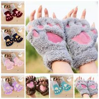 guantes de patas de oso al por mayor-Mujeres Cute Cat Claw Paw Plush Mitones Warm Soft Plush Short Fingerless Fluffy Bear Cat Gloves Costume Half Finger Black Beige