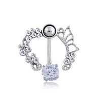 bling çiçek düğmesi toptan satış-Yeni Varış Gümüş Kadın Bell Düğme Yüzük Bling Bling Rhinestone Charm Navels Lüks Taş Çiçek Tasarımcısı Göbek Vücut Takı