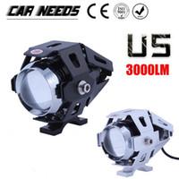 ingrosso il proiettore principale del motociclo u5-Freeshipping Moto Faro Lampada 125 W Moto 3000LMW Fascio di luce superiore Flash CREE U5 LED Fendinebbia Spot Light Head Spedizione gratuita