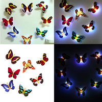 Wholesale 3d house card resale online - Hot Wall Stickers Colorful Glowing Butterfly LED Lights Night Light Wall Stickers D House Home Decoration Sticker Kids gift