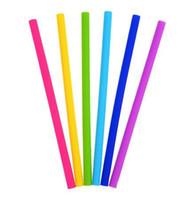 strohhalme für smoothies großhandel-Silikon Stroh wiederverwendbare Silikon Flexible Straight Smoothies Strohhalme Getränke Shop Küche Umweltfreundliche bunte Strohhalme DHL frei