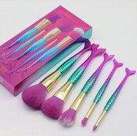 Wholesale beginner makeup sets resale online - 5 High Quality Beginner Mermaid Makeup Brush Set Portable Makeup Tools Full Set Of Eyeshadow Eyebrow Brush Blush Loose Powder Brush