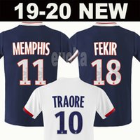 kit futbol achat en gros de-2019 2020 Olympique Lyonnais LYON MEMPHIS FEKIR MAILLOT DE FOOT camisetas thaïlande maillot de football de qualité kit maillot de football camiseta futbol