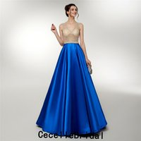 Wholesale girl size winter tops new for sale - Group buy Royal Blue Satin A line Long Evening Dress New Sexy Illusion Beads Top Women Elegant Evening Party Dress Prom Gowns For Girls