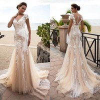 Wholesale wedding dress back button sash resale online - 2020 New D Floral Lace Champagne Wedding Dresses Mermaid Appliqued Sheer V Neck Bridal Gown Cap Sleeves Bow Tulle Sash Button Back Vestidos