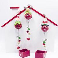 demir takılar toptan satış-1 Adet Yılbaşı Ağacı Süsleri Demir Sanat Noel Bells kolye Karikatür Santa Kardan Adam Ağacı Dize Charm Kolye