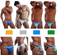 ingrosso g string bianco blu-Abbigliamento da uomo Sexy mutande blu verde bianco lettere G-stringe Gay trasparente Pouch Bikini Fashion