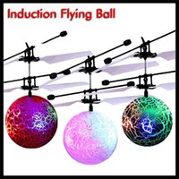 Wholesale ball helicopters toys resale online - Induction LED Flying Crackled Ball RC Drone with Flashed Light Aircraft Helicopter Auto Sensor Booting Christmas Toy for Boys Girls Xmas