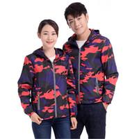 ingrosso giacca rossa del giappone-stile del Giappone Red blu camuffamento Stampa riflettente Bright impermeabile Cappotti unisex uomini donne giacche carino Russia militari cappotti incappucciati
