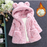 eac7c99c2f2 Winter Baby Girls Clothes Faux Fur Fleece Jackets Thick infant Coat Rabbit Ear  Warm kids Jacket Xmas Snowsuit Children Outerwear