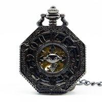 ingrosso fortunati orologi-Lucky Pendant Octagon Skeleton Watches Steampunk Vintage orologio da tasca meccanico per uomo donna PJX1270