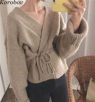 Korobov Korean Loose Casual Women Cardigans Vintage Solid Female Cardigan  V-Neck Knit Sweater Lacing Jumper Mujer 76466 5ff5d7f27