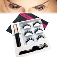 ingrosso longs magnetico-Hot 5 Magnet Eyeliner Magnetico Liquido Eyeliner Magnetico Ciglia Finte Pinzette Set Estensione Ciglia Impermeabile Duraturo