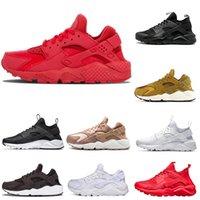 erkekler için huarache toptan satış-Huarache 4,0 1,0 Erkekler Kadınlar Koşu Ayakkabı Klasik Üçlü Siyah Huaraches Kırmızı Nefes Spor Sneaker Eğitmenler Boyut 36-45