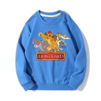 çocuklar pembe ilkbahar paltosu toptan satış-Big Boy İlkbahar Sonbahar Uzun Kollu Sweatshirt Karikatür Aslan Kral Guard Kapüşonlular Kızlar Pembe Hoodie Çocuk Çocuk Spor Coat JX019