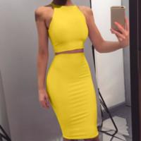 подходящая желтая юбка оптовых-Укороченный топ и юбка Набор из двух частей Yellow Club Summer Outfit Сексуальная одежда для женщин, соответствующие комплектам
