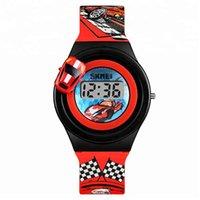 дизайн детских автомобилей оптовых-умные часы Новейший маленький подарок детские цифровые часы с поворотным дизайном автомобиля красочные время и дата студенческие часы