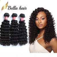 Wholesale human hair weft deep curl resale online - Bella Hair A Gorgeous Curl Brazilian Human Hair Weft in Black Color Deep Wave Wavy Hair Extensions g pc Pieces