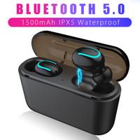 ingrosso auricolari bianchi bluetooth blu-HBQ Q32 tws 5.0 Auricolari Bluetooth Bluetooth 5.0 + Cuffie EDR IPX5 Mini auricolari wireless impermeabili Cuffie cordless